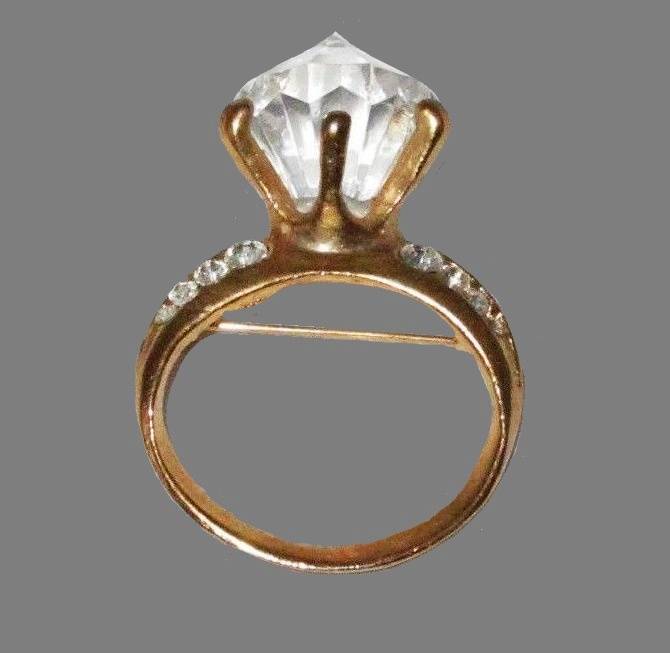 Engagement Ring goldtone and crystal brooch