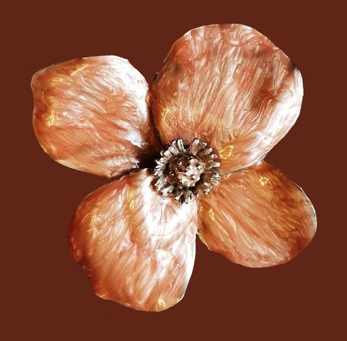 Erwin Pearl vintage flower brooch. Jewelry alloy, enamel. 9 cm