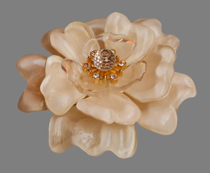 Exquisite 3D flower brooch. Jewelry alloy, Swarovski crystals, plastic. 9 cm