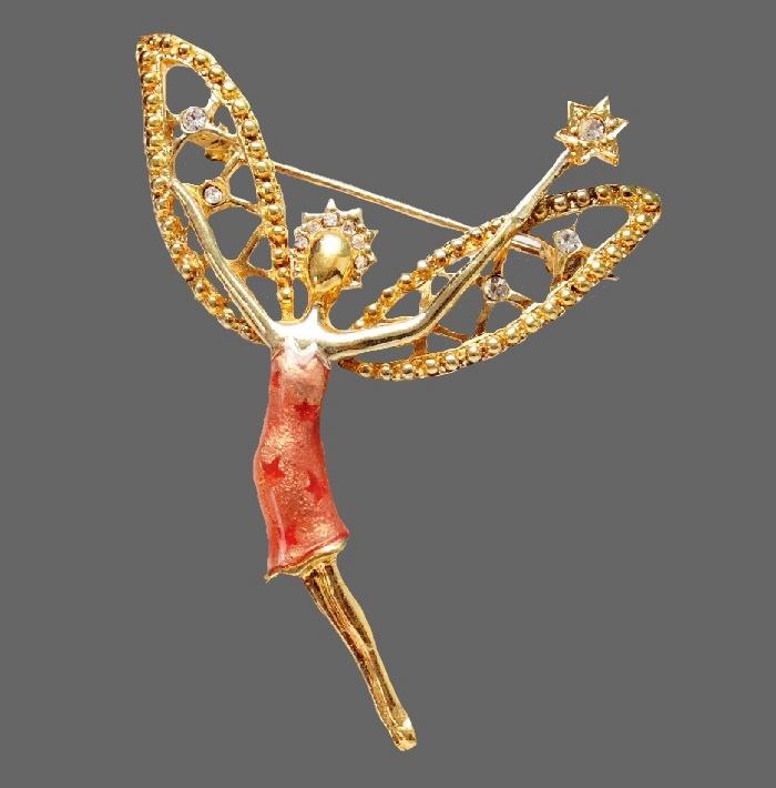 Fairy vintage brooch. Aurora Borealis, gold tone metal, Swarovski crystals. 6 cm