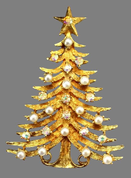 Faux Pearl and AB Rhinestone Christmas Tree Brooch