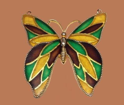 Faux Stained Glass Butterfly Necklace