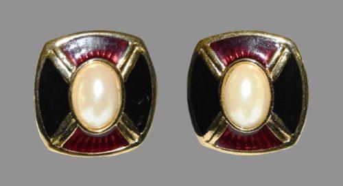 Faux pearl, black enamel gold tone earrings
