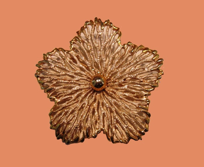 Filigree goldtone flower enameled brooch