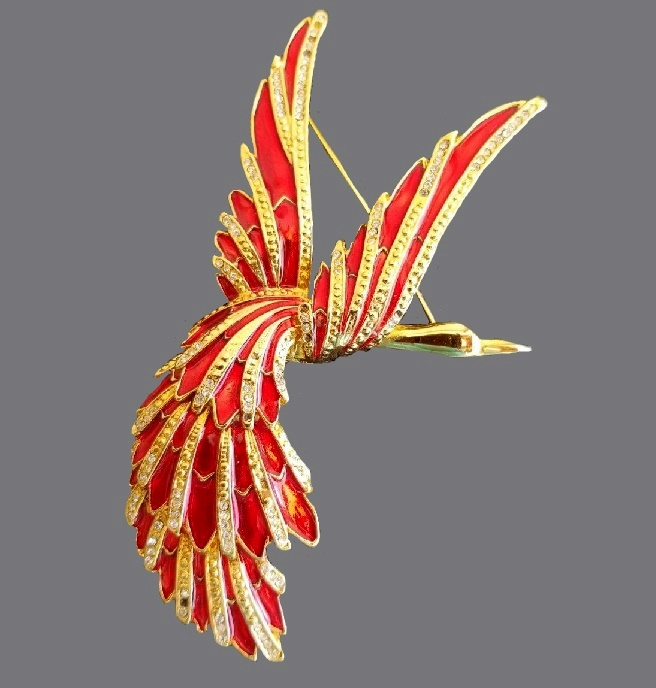 Firebird enameled brooch