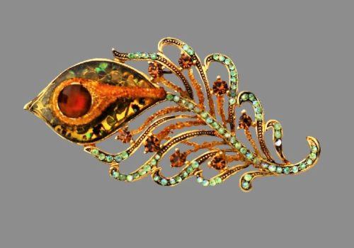 Firebird feather brooch. Gold tone jewelry alloy, 7 cm
