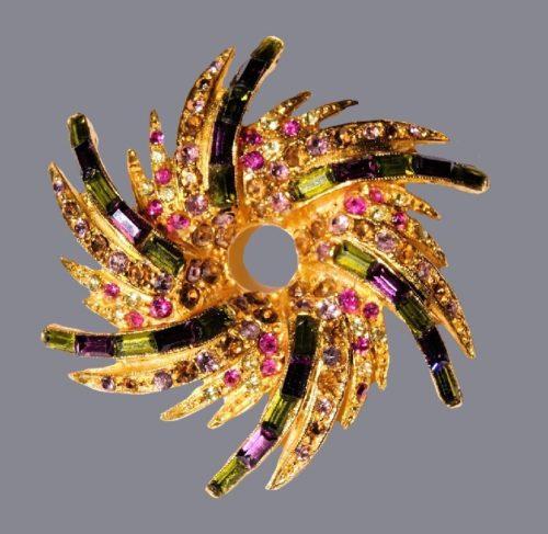 Firework brooch. Vintage, 1960s. Jewelry alloy of gold tone, rhinestones, enamel