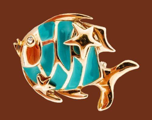 Fish brooch. Jewelry alloy, enamel, swarovski crystals, 4.8 cm