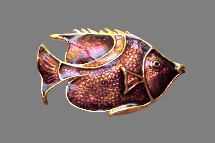 Fish enameled gold tone brooch