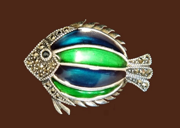 Fish vintage silver brooch. Decorated with marcasite and blue-green enamel
