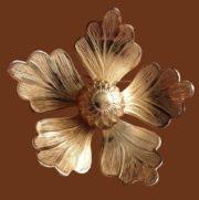 Five petal gold tone brooch, vintage