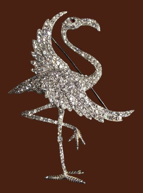 Flamingobrooch pin. Silver tone metal, rhinestones