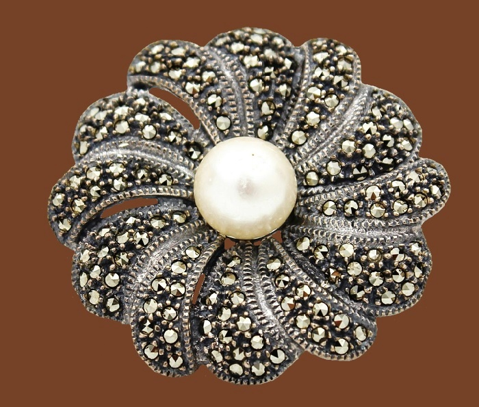 Flower Brooch with Pearl Center and Marcasite