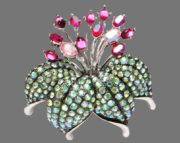 Flower Lily vintage brooch. Limited Edition. Jewelry alloy, crystals, aurora borealis, Swarovski crystals, cabochons. 5.5 cm