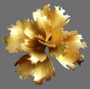 Flower brooch. 1960s. Jewelry alloy of gold tone