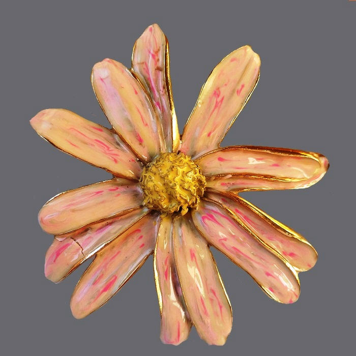 Flower pinkish cream color brooch. Petals - colored enamel with a golden edge. Made of jewelry alloy of golden tone. 7.5 cm