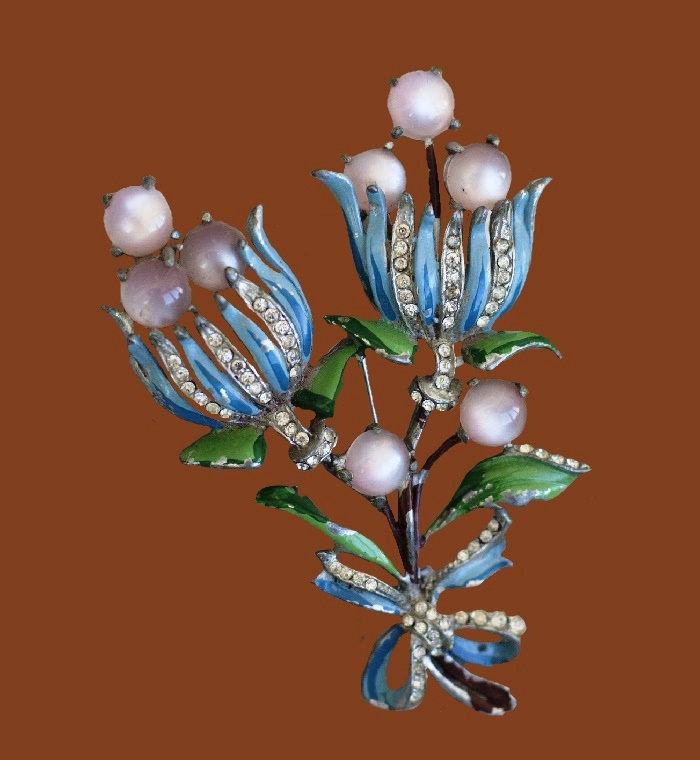 Flower vintage brooch. Metal, enamel, cabochons, crystals. 8.5 cm