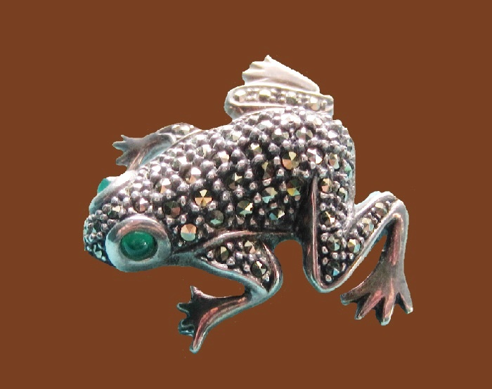 Frog brooch. Marcasite, sterling silver