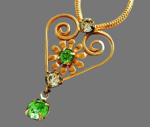 Gold plated necklace decorated with crystals and rhinestones