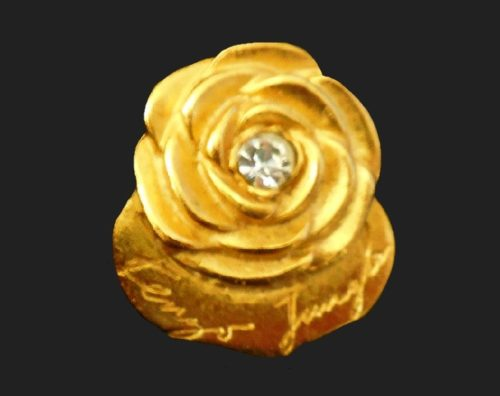 Gold rose vintage brooch