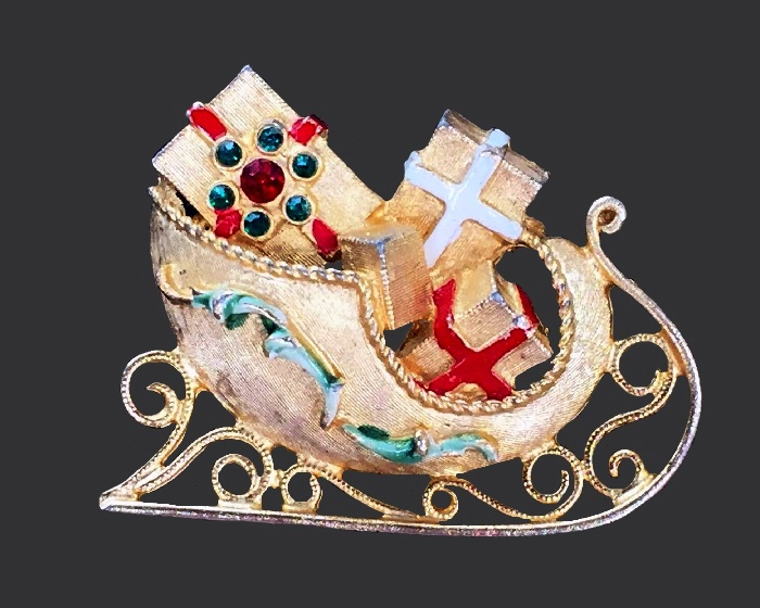 Gold tone and rhinestones Christmas Sled with presents brooch