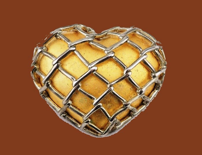 Gold tone caged puffed heart pin brooch