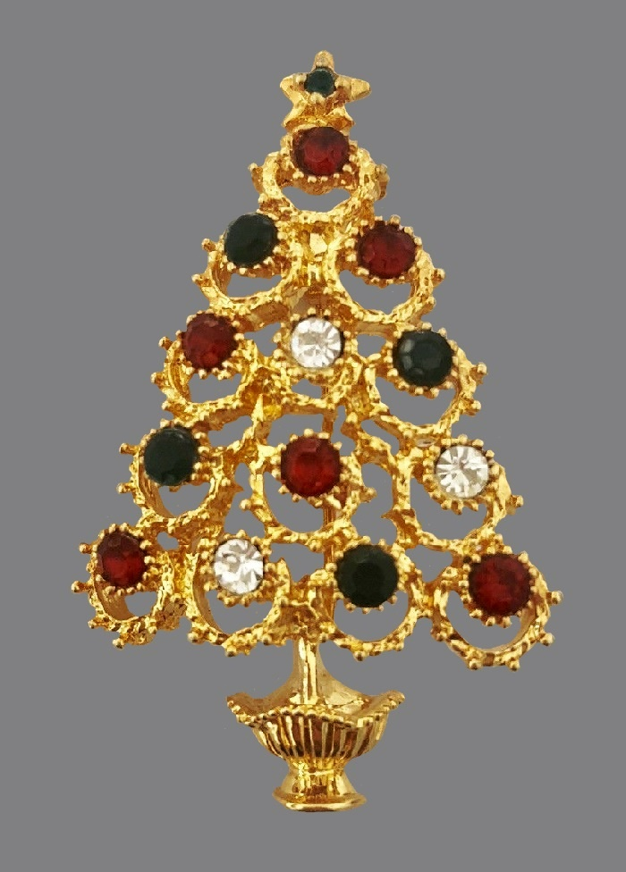 Gold tone, rhinestones Christmas tree brooch, vintage