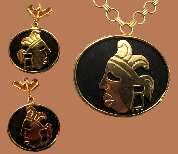 Goldtone Black Enamel Tribal Warrior Face Pendant and earrings