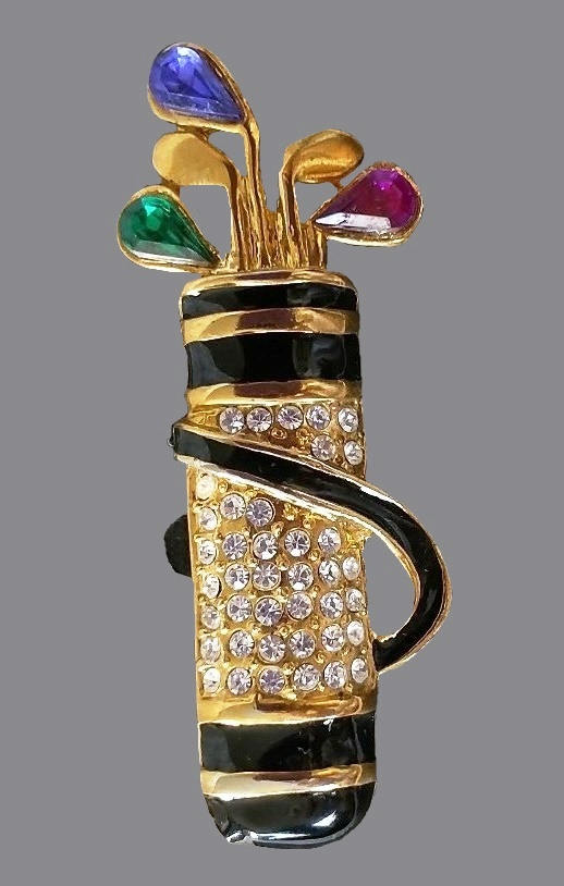 Golf Bag Brooch. Goldtone metal, Austrian crystals, enamel