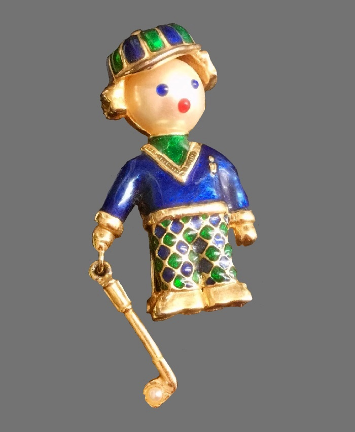 Golf player, 1972-1975 brooch. Jewelry alloy, metal, enamel, rhinestones