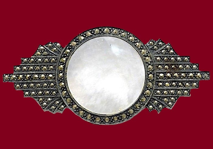 Gorgeous Art Deco style brooch. Sterling silver, marcasites and mother of pearl