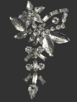Gorgeous crystal rhinestone floral dangle brooch of sterling silver