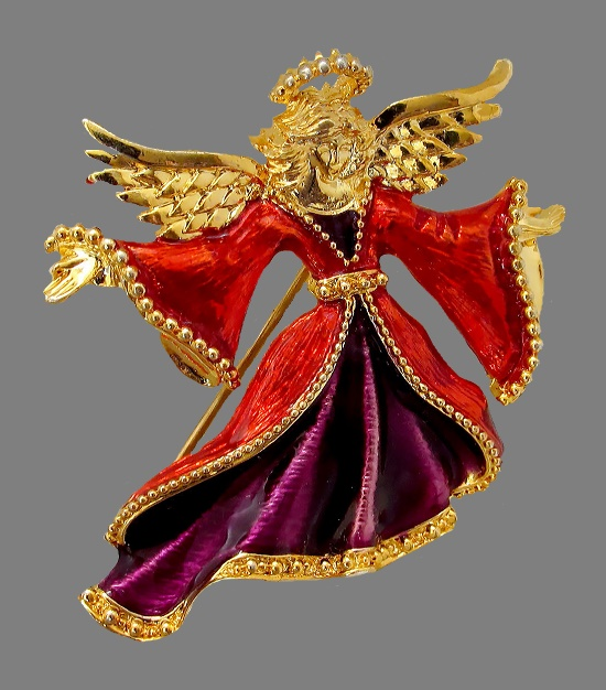 Gorgeous fire angel brooch. Hand-painted, jewelry alloy, enamel. Attention to even the smallest details distinguishes Christopher Radko costume jewelry, therefore they appear in private collections of celebrities