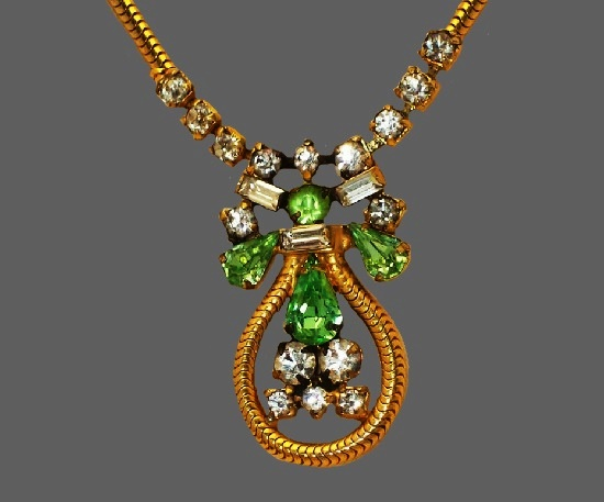 Green and clear rhinestone gold tone necklace