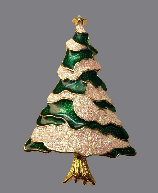 Green and cream glitter enamel Christmas tree brooch