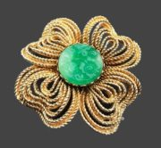 Green jade gold tone flower brooch, signed Mandle