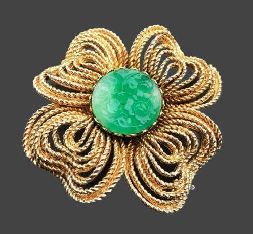 Green jade gold tone flower brooch, signed Mandle