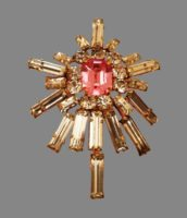 Guiding Star brooch. Gold plated, crystals. 5 cm