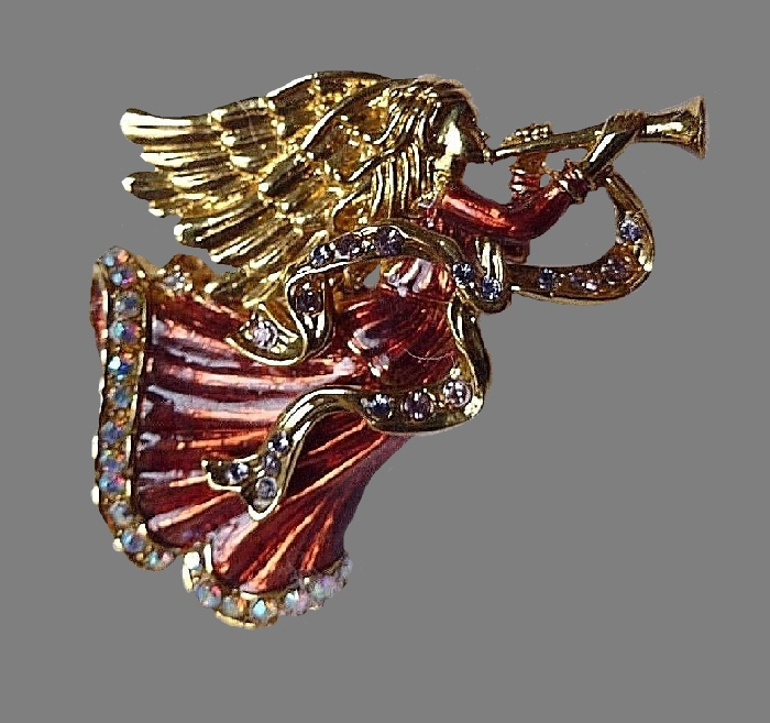 Hand enameled Christmas Angel brooch