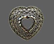 Heart brooch-pendant. Sterling silver, marcasites
