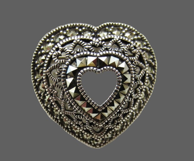 Heart brooch-pendant. Sterling silver, marcasites