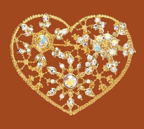 Heart brooch. Jewelry alloy, crystals, rhinestones