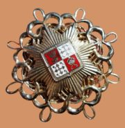 Heraldic brooch-order. 6 cm. Made of high-quality metal alloy of gold color, colored enamel