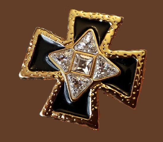 Heraldic brooch. Jewelry alloy, gilding, colored enamel, enamel, glass rhinestones, Swarovski crystals
