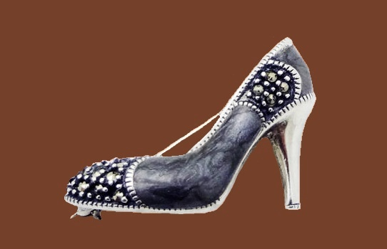High Heel Shoe Marcasite Pin Brooch in Sterling Silver