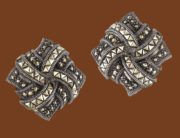 High quality, pin-type earrings made of sterling silver, decorated of round and rare triangular marcasites