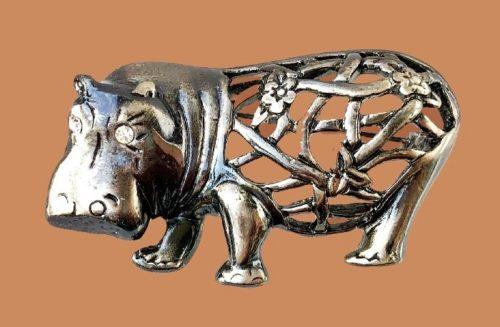 Hippo silver tone brooch, rhinestone