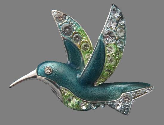 Hummingbird enameled brooch. 1980s, 4,5 cm