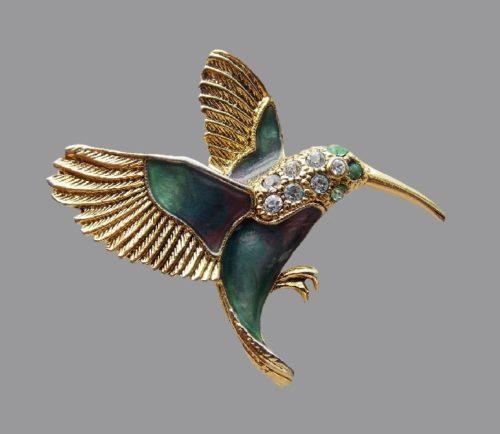 Hummingbird vintage brooch. Jewelry alloy, Swarovski crystals, jewelry enamel. 5.0 cm