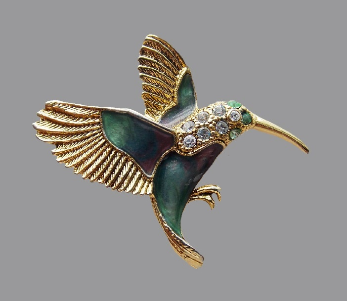 Hummingbird vintage brooch. Jewelry alloy, Swarovski crystals, jewelry enamel. 5.0 cm